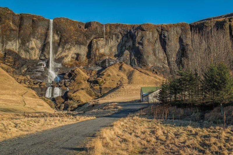 путешествия, Исландия, пейзаж, водопад солнечным днем в Исландииphoto preview