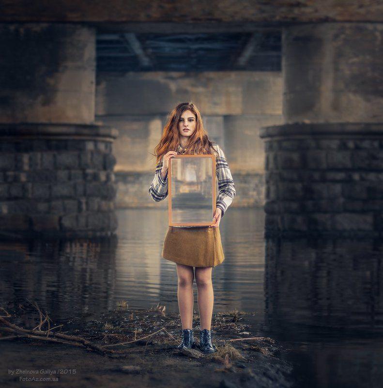 Девушка, Зеркало, Мост, Портерт ...photo preview