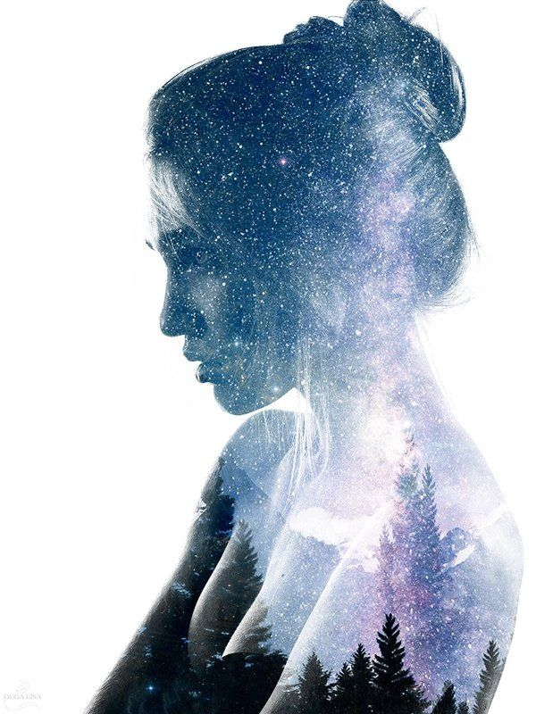 Collage, Girl, Portrait, Space, Universe 1 photo: \