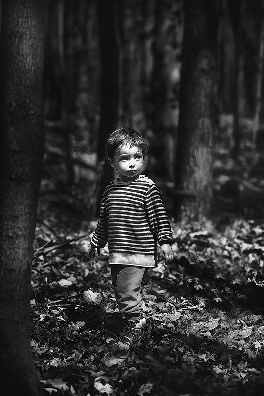 Лес, Портрет, Ребенок, Чб В лесуphoto preview
