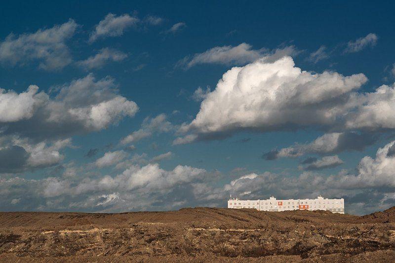 house, cityscape, clouds, blue, sky, ground, landscape Housephoto preview