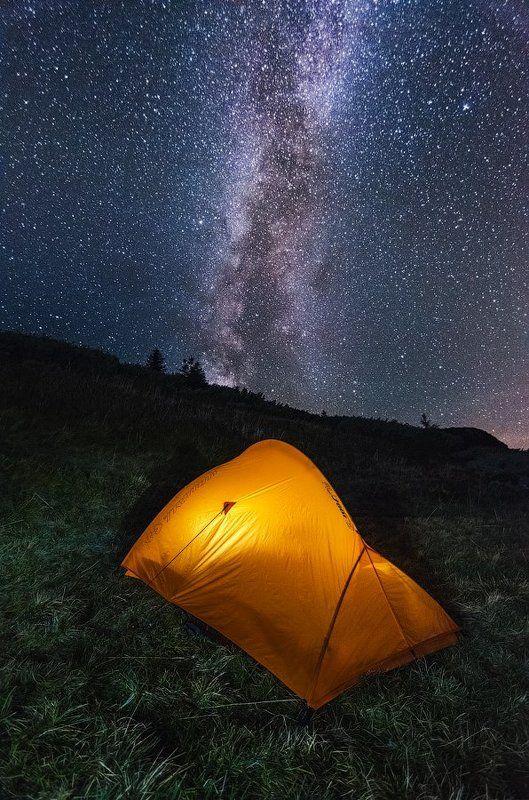 Украина, гора, Поп Иван, Марармарош, ночь, звезды, палатка, смереки Ночь у Поп Ивана Мармарошскогоphoto preview