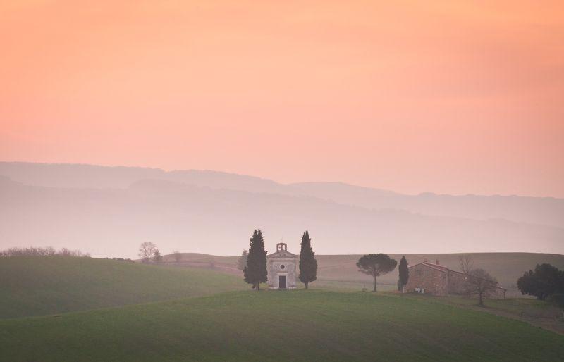 Тоскана, Валь д\'Орча, рассвет, Италия, Val d\'Orcia Весенний рассвет в Тосканеphoto preview
