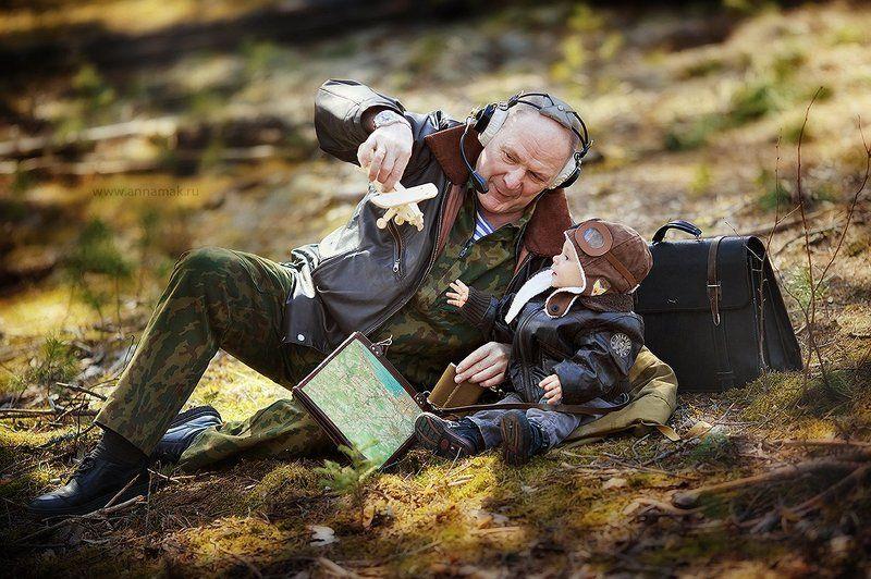 Внук, Дедушка, Летчики, Поколение, Ребенок Когда дедушка летчик...photo preview