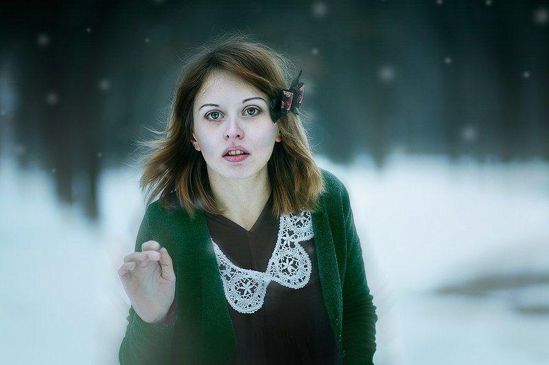 winter,portrait, 85 mm 1.8, canon,  Девушка в лесуphoto preview
