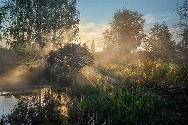 Деревня, Лучи, Село, Солнце, Туман, Утро, Церковь Утро в деревнеphoto preview