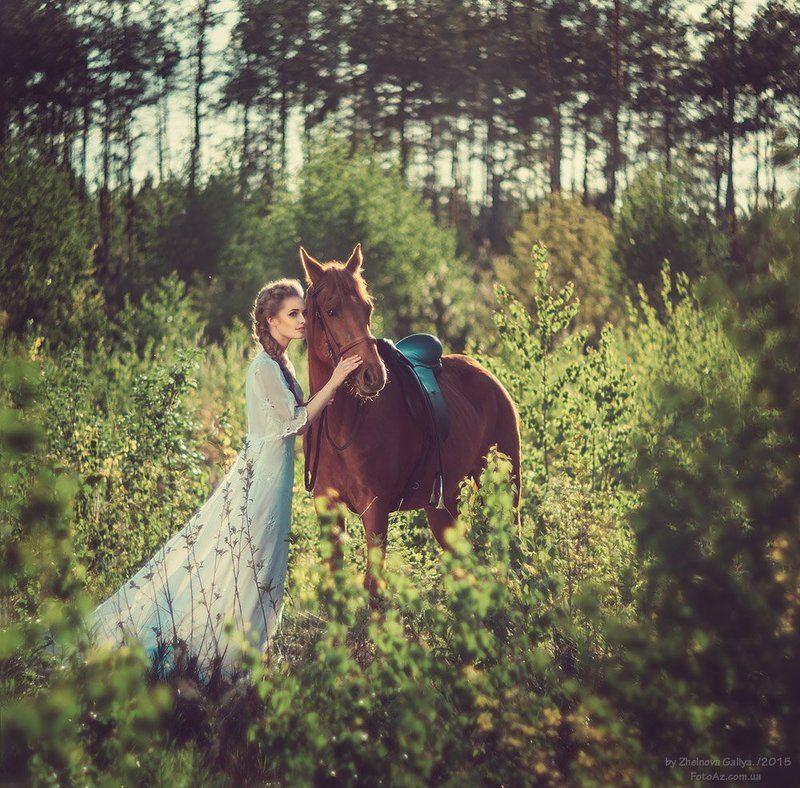 Девушка, Лошадь, Платье ...photo preview