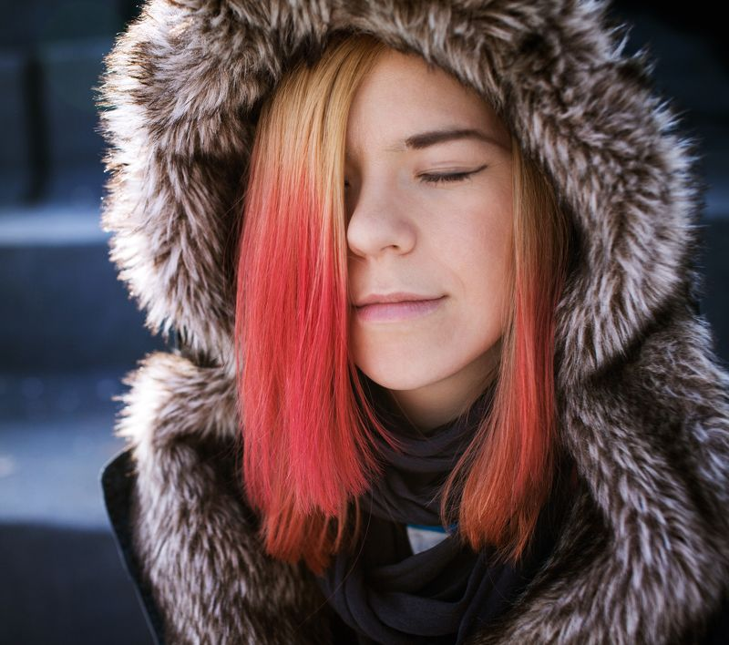 portrait, girl, winter, far East Ёляphoto preview