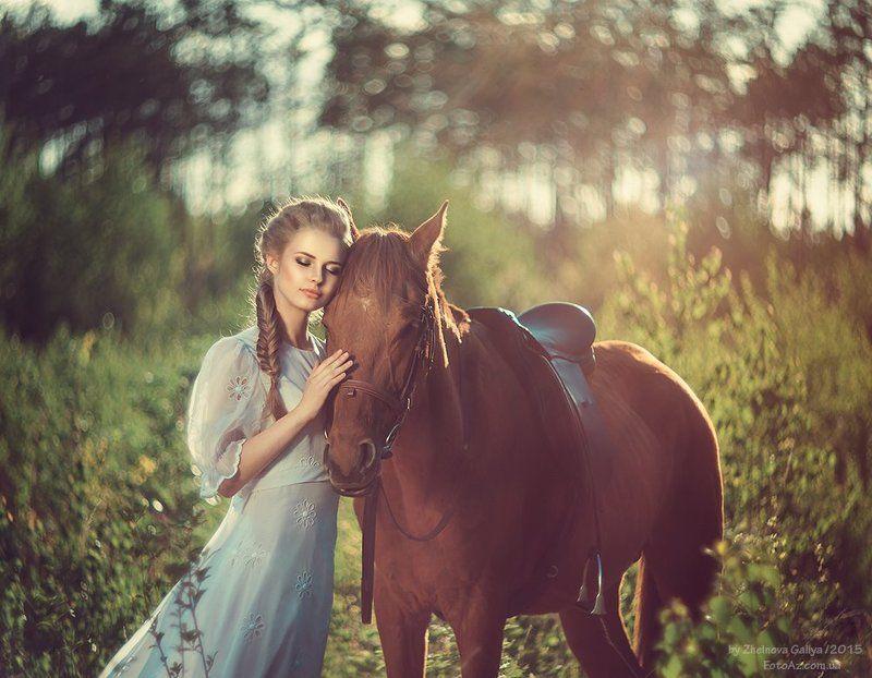Девушка, Лошадь, Портрет ...photo preview