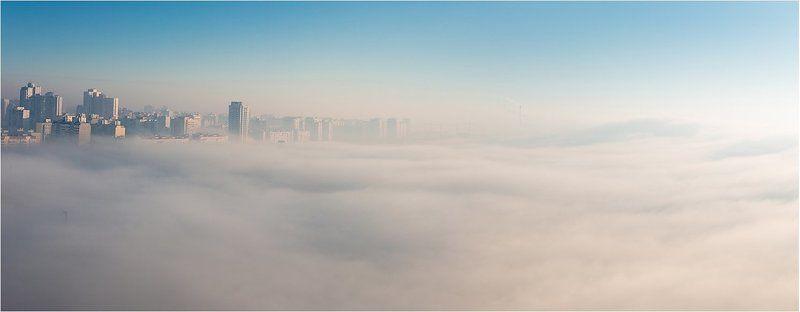 утро, город, туман, Киев небесноеphoto preview
