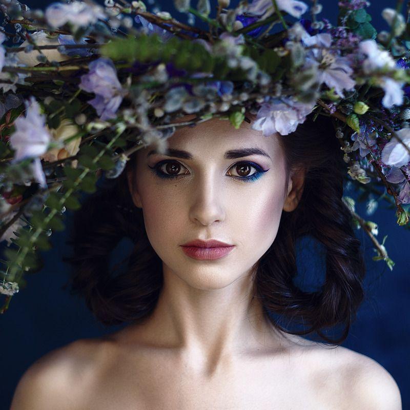 portrait, women, flowers, ***photo preview