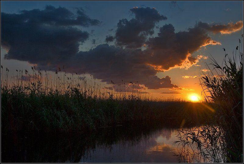 пейзаж, река, днепр, рыбалка, вечер, закат, солнце Красивое завершение летнего дняphoto preview