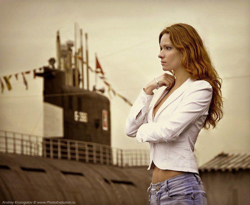 девушка, вода, лодка, корабль, портрет, ***photo preview