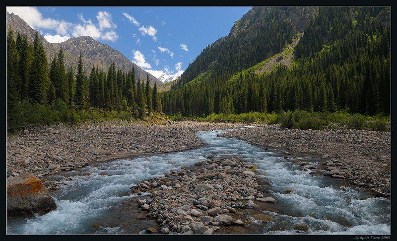 природа,горы,лето,ущелье,лес,скалы,деревья,трава,облака,река,елки,тень,вечер,ледники Островокphoto preview