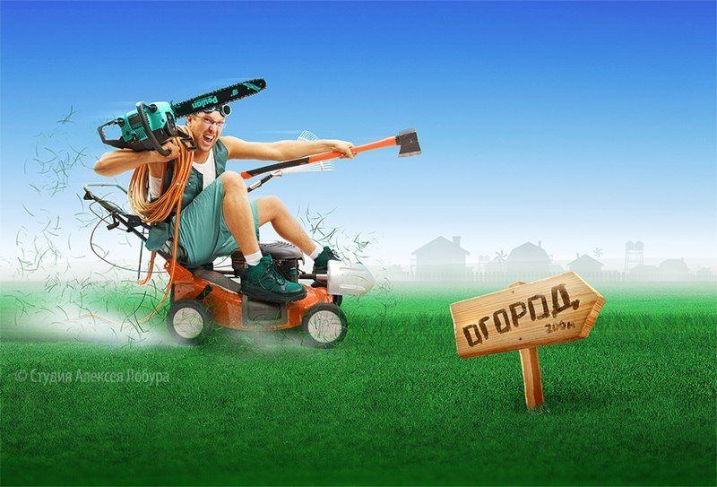 мужчина, мужик, газонокосилка, огород, деревня, лето, лобур, ретушь, монтаж Иллюстрация для магазина техникиphoto preview