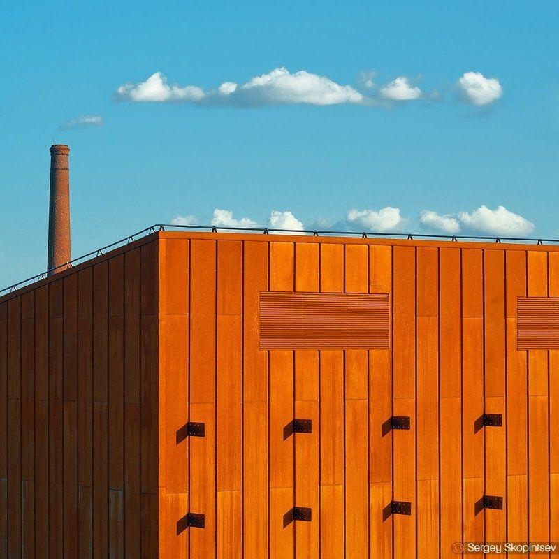 city, sky, clouds, orange, blue Made cloudsphoto preview