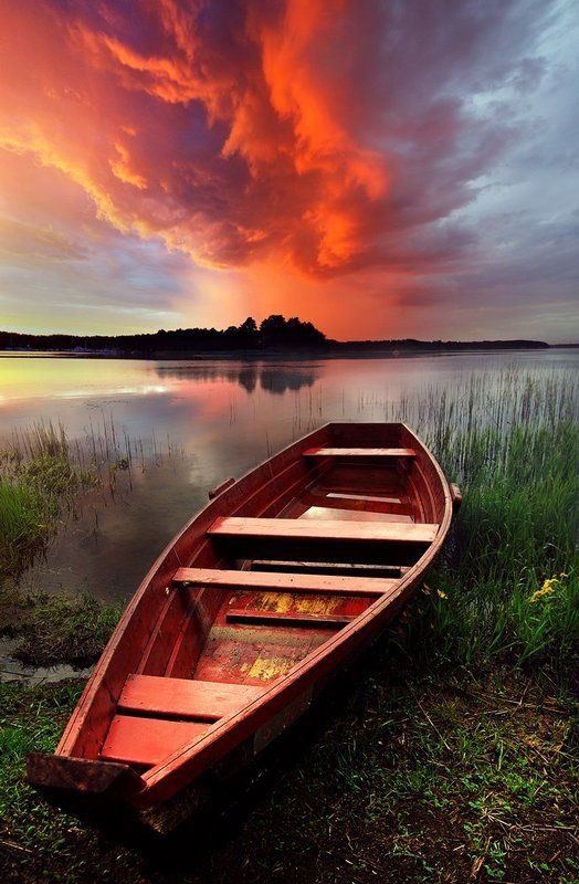 boat, clouds, colors, water, lake *photo preview