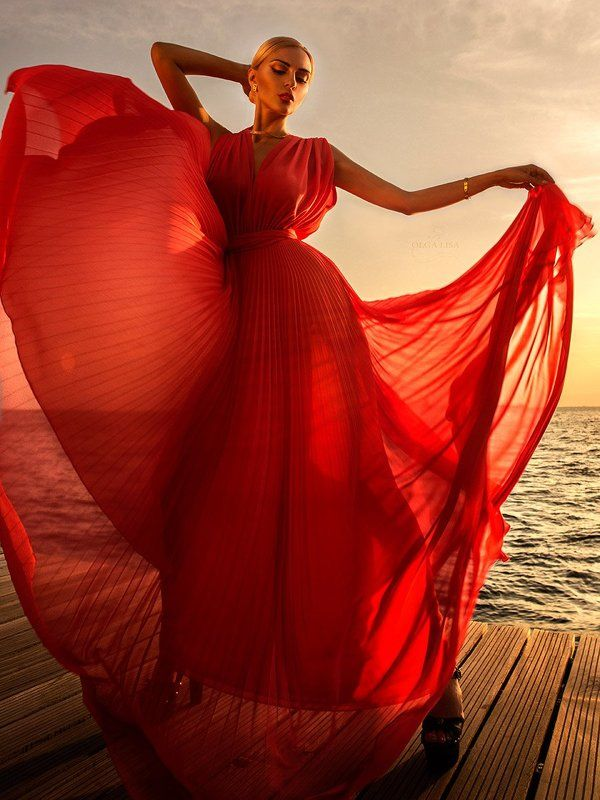 Fashion, Girl, Greece, Model, Red, Sea, Sunset Giolandaphoto preview