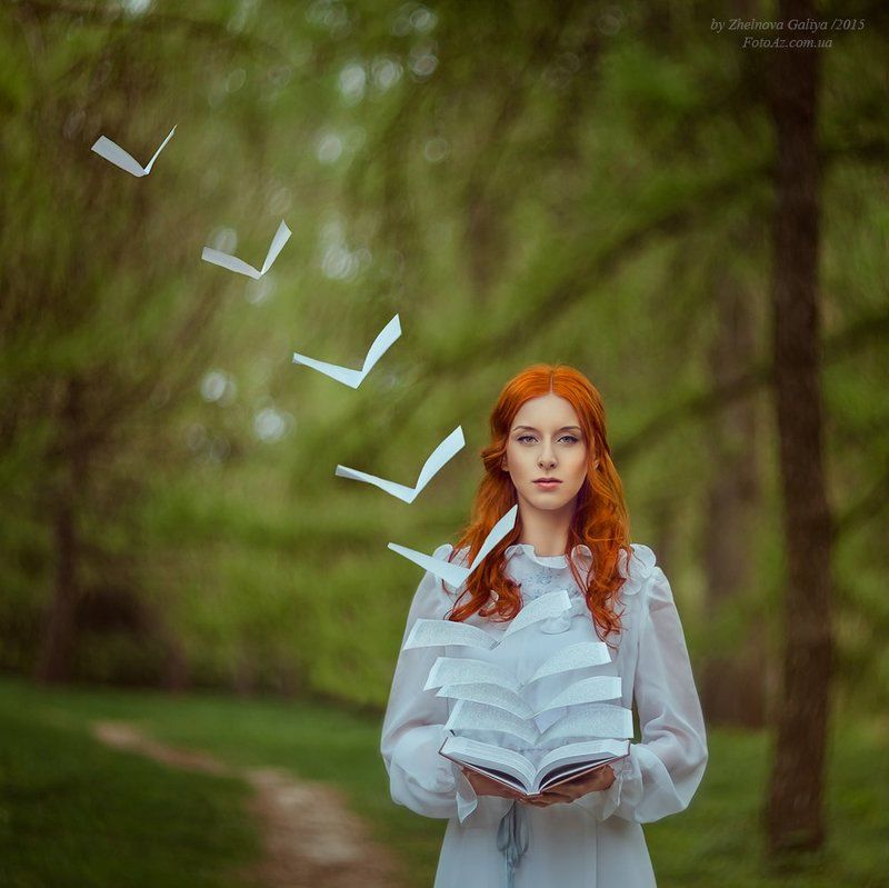 Девушка, Книга, Лес, Страницы, Тропинка ...photo preview