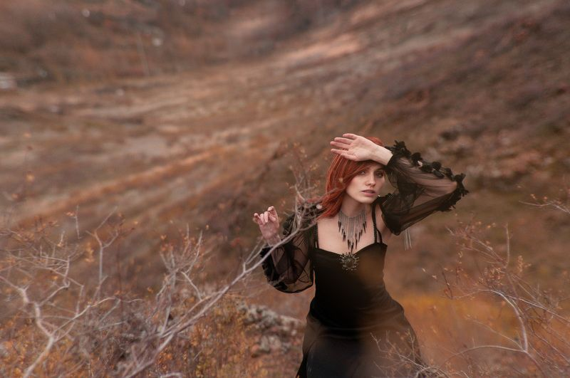 Black, Field, Gothic, Mountains, Redhair, Sunset Kristanaphoto preview