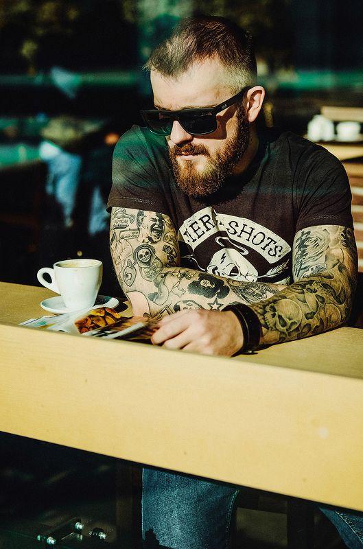 кофе борода парень кафе утро single coffeephoto preview