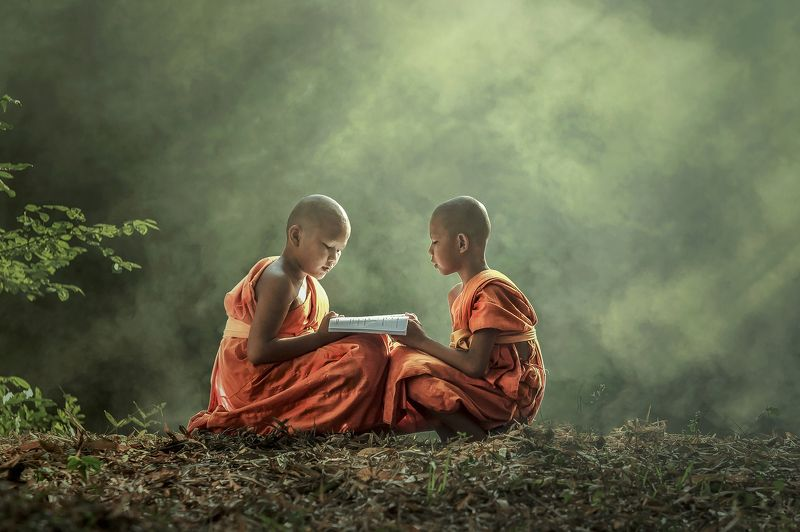 Young Buddhist monk reading.photo preview