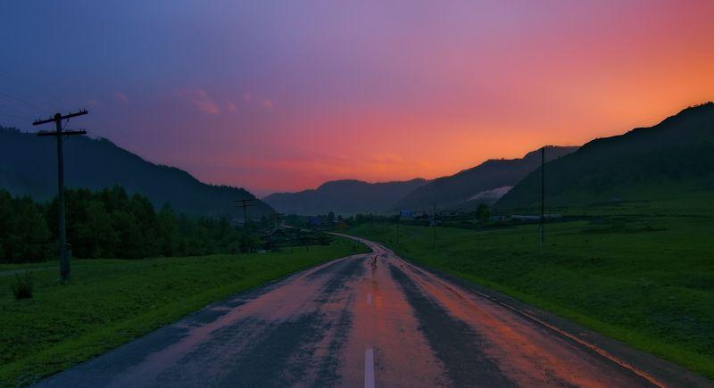 Вечер, Горный алтай, Горы, Деревня, Дорога, Закат, Краски, Пейзаж, Сельский пейзаж \