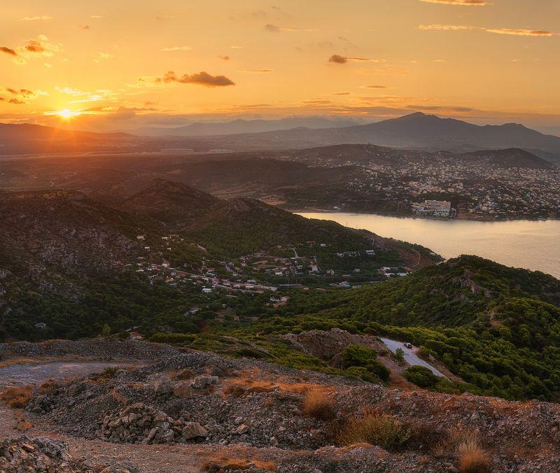 Горы, Греция, Закат, Лето, Лучи, Море, Оранжевый, Путешествие, Солнце Греческими тропамиphoto preview