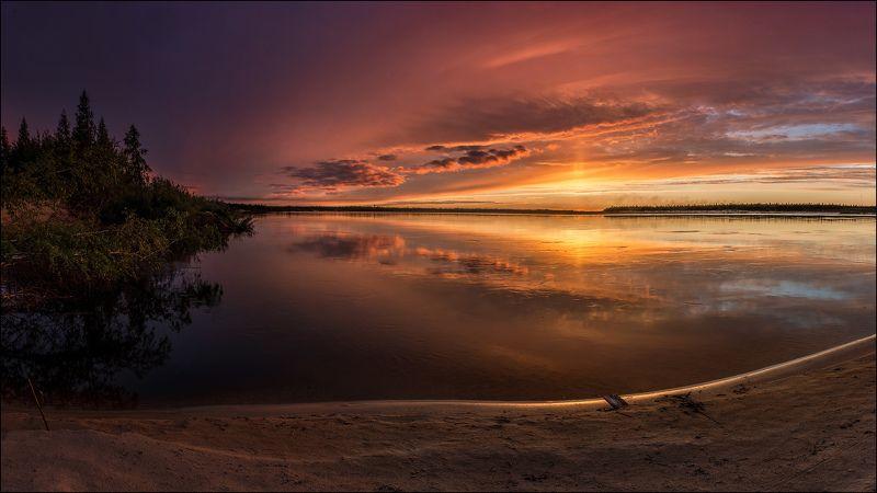 Белая ночь, Пейзаж природа, Река, ЯНАО Белая ночь на реке Пякупурphoto preview