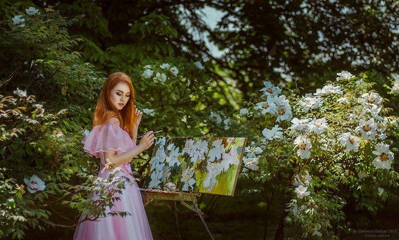Девушка, Кисти, Мольберт, Цветы ...photo preview