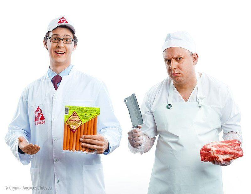 мясо, мясник, мужчина, лобур Реклама мясокомбинатаphoto preview