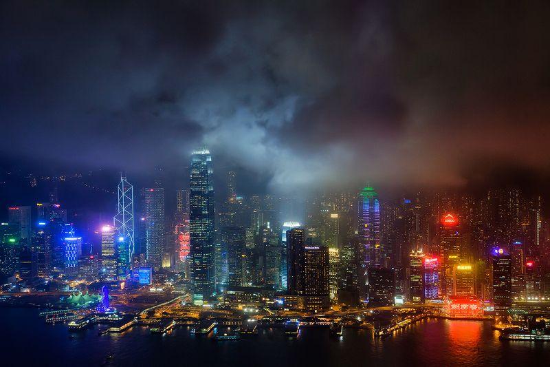 Гонконг, Китай, небоскреб, вечер, тучи, цвет Разноцветный Гонконгphoto preview