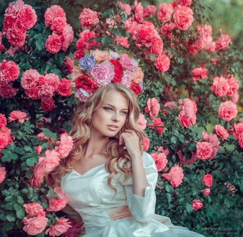 Венок, Девушка, Розы, Цветы ...photo preview