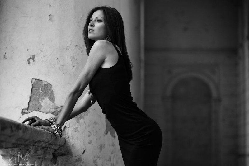 девушка платье, черный, черно-белый, портрет, анна, взгляд ***photo preview