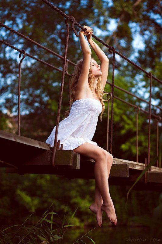 девушка, мостик ***photo preview