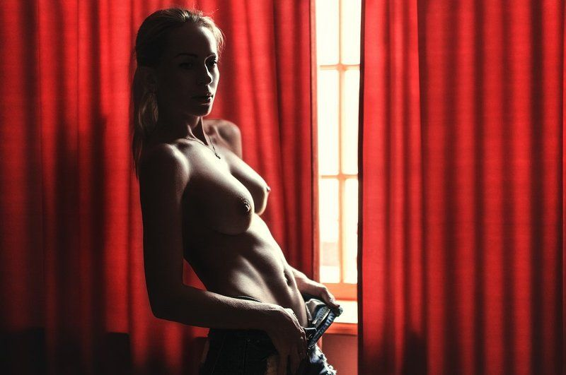 curtains, girl, nude, light, red, elegant, sexy, shorts ***photo preview
