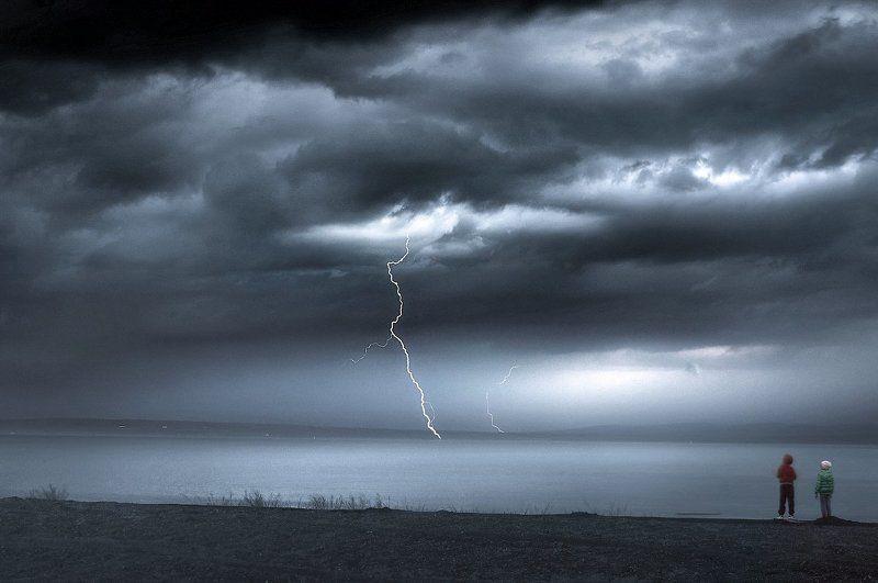 Хакасия, Белё, ураган, молния, шторм, озеро Гроза на озере Белё. Хакасия. Россия.photo preview