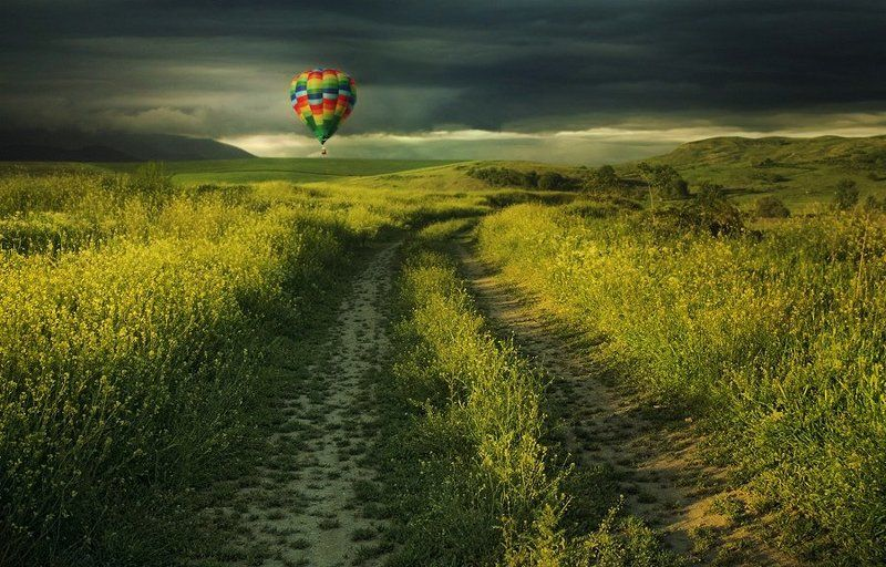 field,green,balloon,yellow,land,road,clouds,sky,storm,summer, Dream landphoto preview