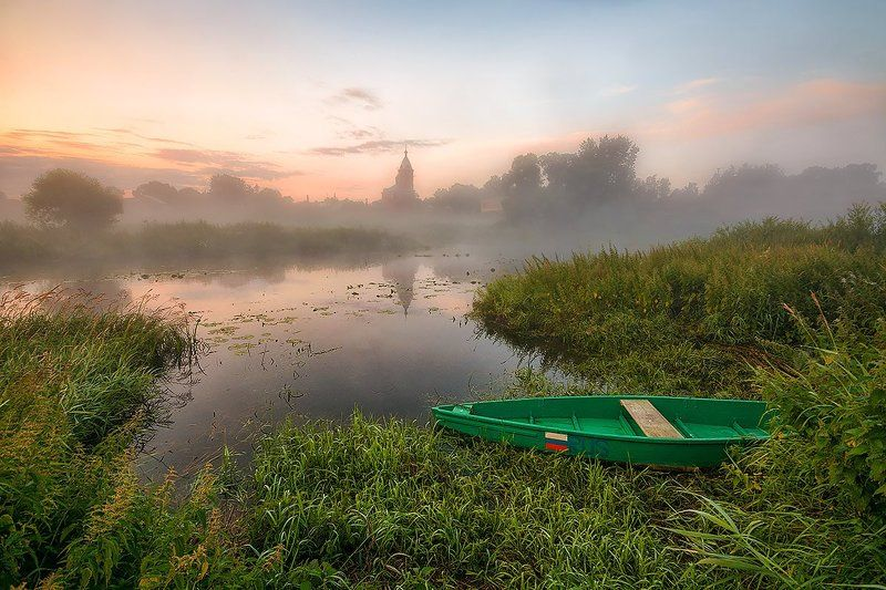 Лодка, Река, Рассвет На рассвете...photo preview