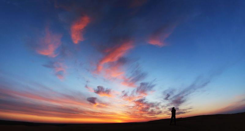 рассвет, калмыкия, барханы, россия, путешествия, панорама, небо Утро. Калмыкия.photo preview
