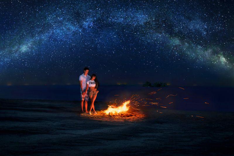звезды, ночь, костер, романтика, Млечный Путь, пара ***photo preview