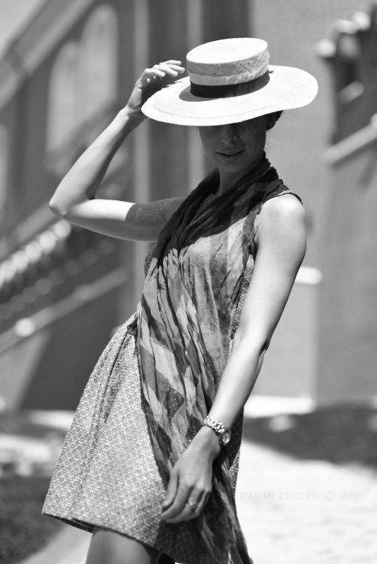 портрет, лето, мода, девушка, кремль, канотье * * *photo preview
