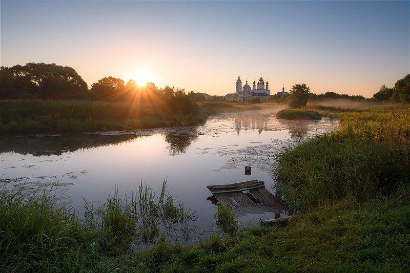 утро, рассвет, восход, пейзаж, природа, река, туман, Николо-Шартомский, монастырь Утро. Николо-Шартомский мужской монастырь.photo preview