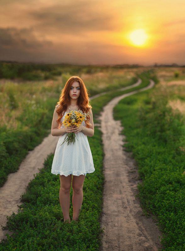 девущка, поле, закат, цветы, дорога, рыжая ***photo preview