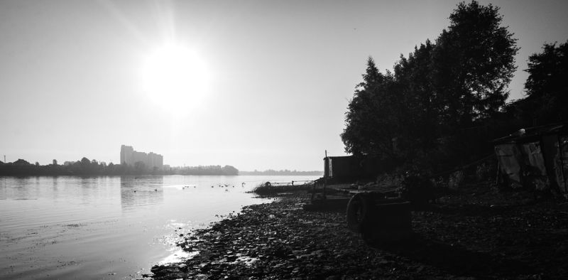 B&w, Birds, Black & white, Photo, Sky, Water ***photo preview