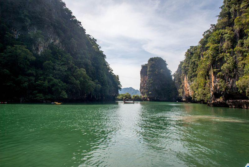 water, landscape, seascape, rocks, green, Thailand Green waterphoto preview