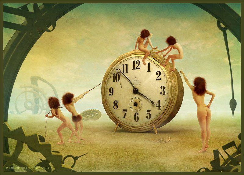 сюррелизм, девушка, женщина, ню, часы, время, коллаж, ретушь, лобур, арт времяphoto preview