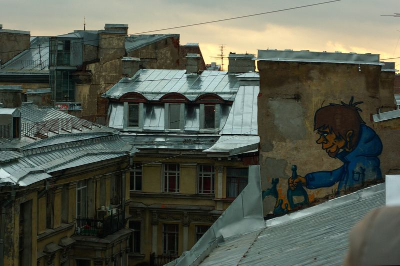 roofs, St.Petersburg, landscape, yellow, graphity, windows, sky Wanna drink?photo preview