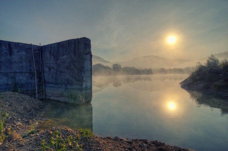 восход, солнце, туман Лестницаphoto preview