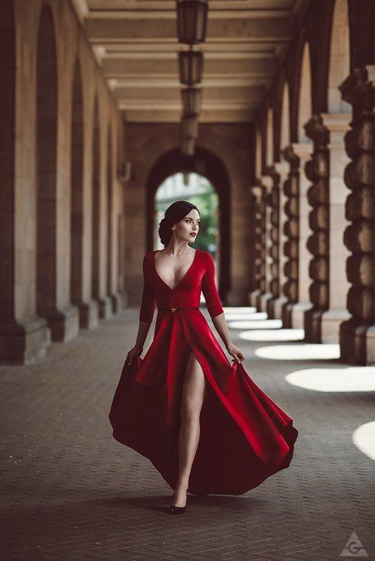 red, lady, beauty, dress Lady in redphoto preview
